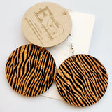 Animal Print Round Black and Gold Earrings