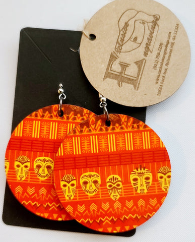 African Print Red Round Earrings