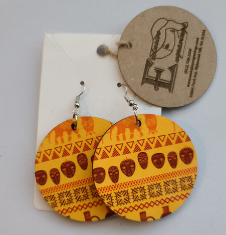 African Print Yellow Earrings