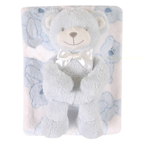 Beary Blue Fleece Blanket and Plush Toy Set