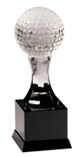 "9"" Crystal Golf Ball on Black Pedestal Base"