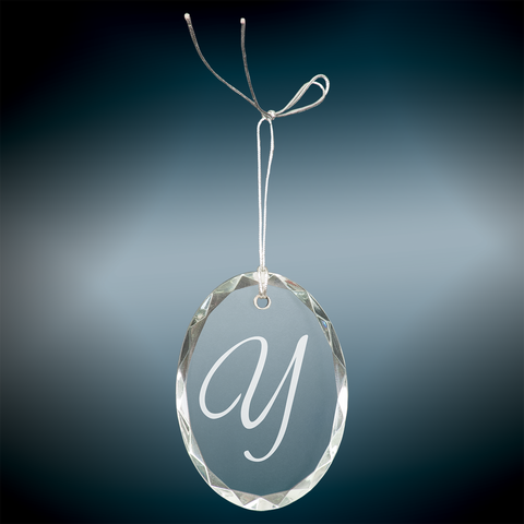 Crystal Facet Oval Ornament