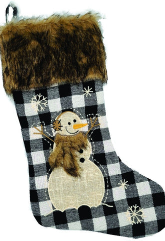 Faux Fur-Trimmed Plaid Stocking
