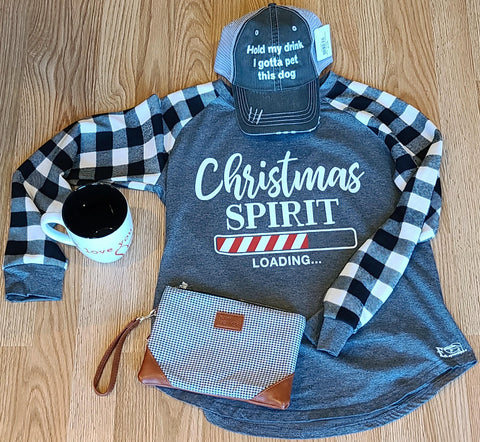 Christmas Spirit Loading White and Gray Flannel Long Sleeve