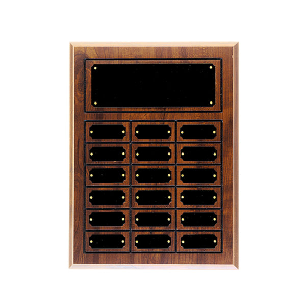 12 Plate Cherry Finish Grooved Perpetual Plaque