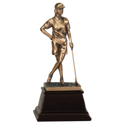 "Female Golfer Broze Golf Resin (9"")"