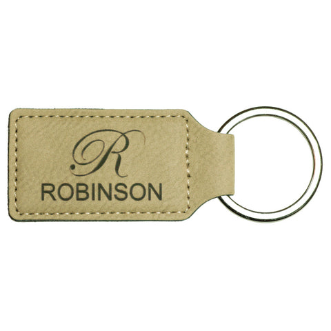 Light Brown Leather Rectangle Keychain