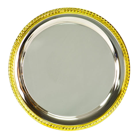 Gold-Rim Silver Plated Tray