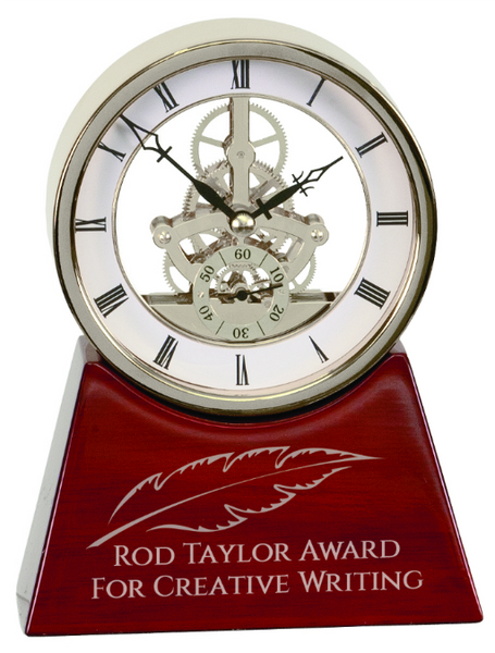 Executive Silver & Rosewood Piano Finish Clock