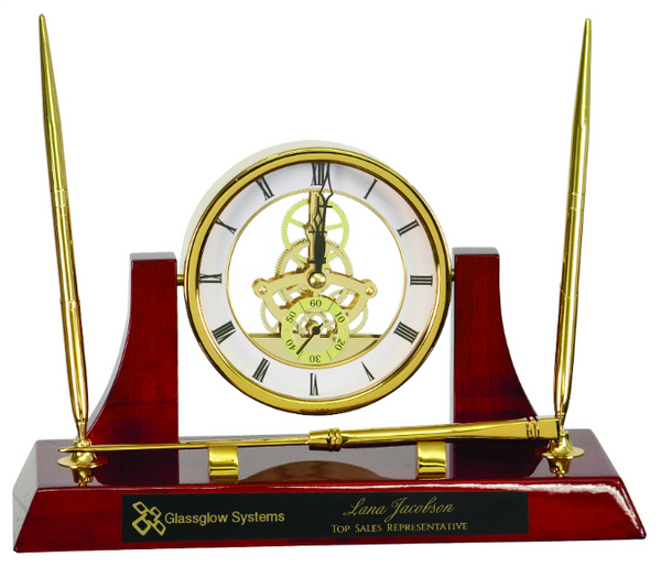 Executive Gold/Rosewood Piano Finish Clock/Pens/Ltr Opener
