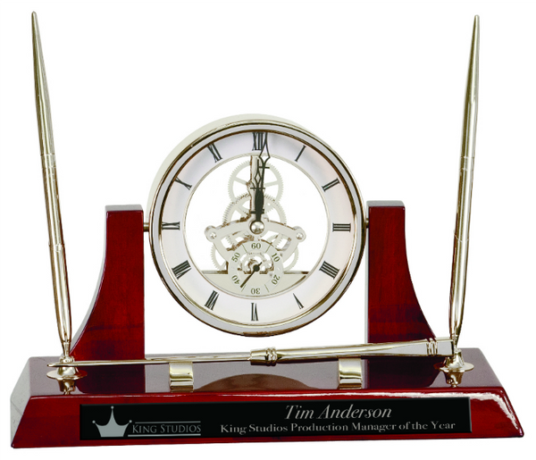 Executive Silver/Rosewood Piano Finish Clock Desk Set With 2 Pens & Letter Opener