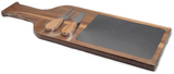 "17 1/2"" x 6"" Acacia Wood/Slate Cheese Serving Board with Two Tools"
