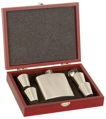 6 oz Stainless Steel Flask Set In A Rosewood Presentation Box