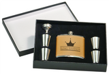 6Oz Flask & Shot Glass Gift Set leather