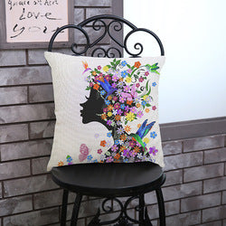 Lady Silhouette and Flowers Pillowcase