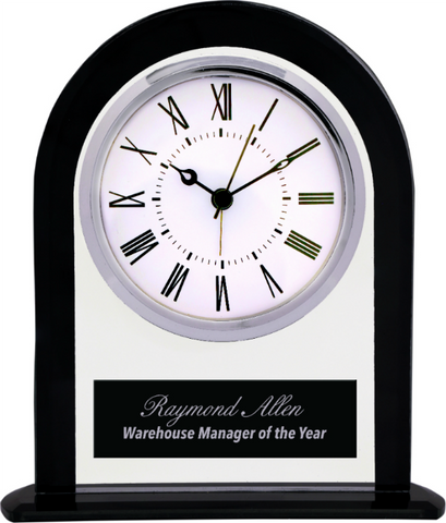 Arch Glass Clock with Black Border