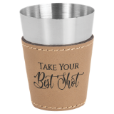 Leatherette Sleeved Shot Glass