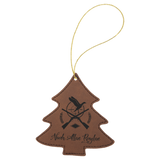 Leatherette Tree Ornament with Gold String