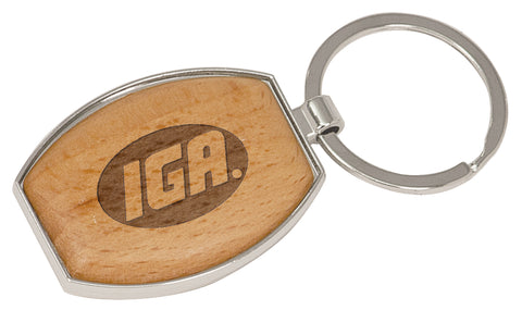 Wood Oval Keychain