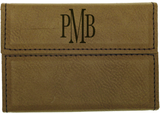 Hard Light Brown Leather Business Card Holder
