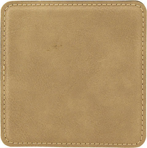 Light Brown Square Leatherette Coaster