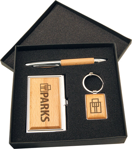 Wood Gift Set With Card Case, Pen And Keychain