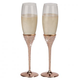 Galaxy Rose Gold Flutes 10 1/2""