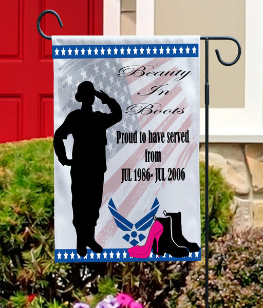 Military Woman With Glam Garden Flag
