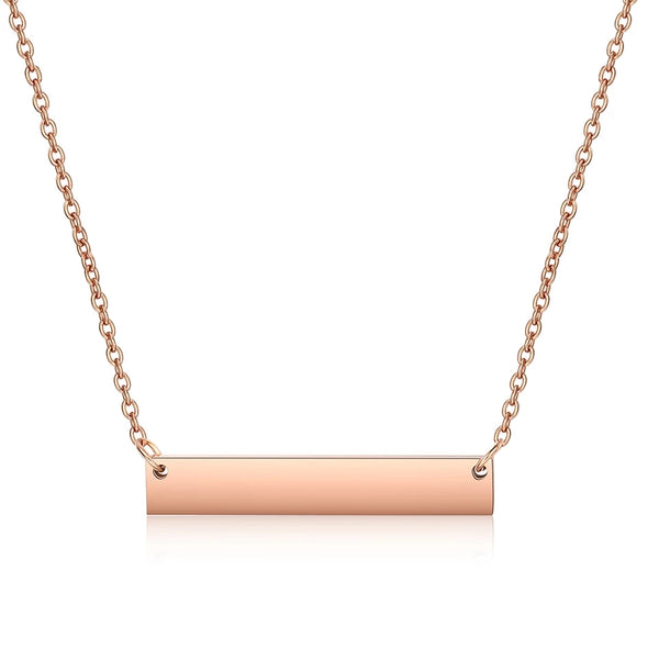 Horizontal Stainless Steel Rose Gold Bar Necklace