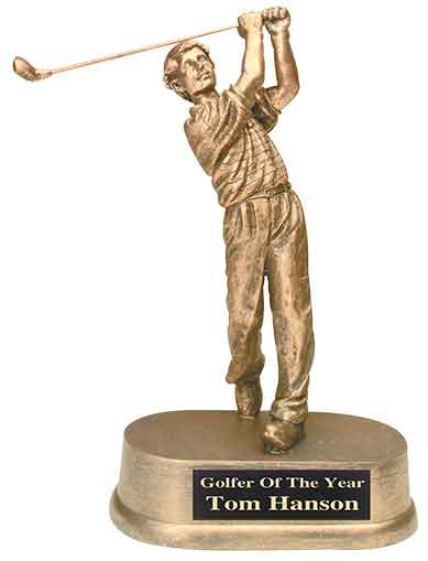 "8 3/4"" Antique Gold Male Golf Resin Trophy"