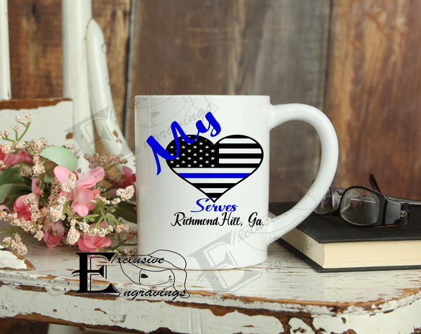 My Heart Serves Police Mug