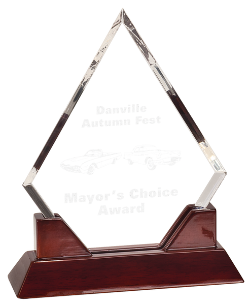 Acrylic Rosewood Accented Diamond Award