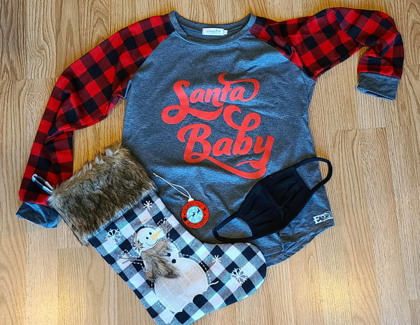 Santa Baby Red and Gray Flannel Long Sleeve