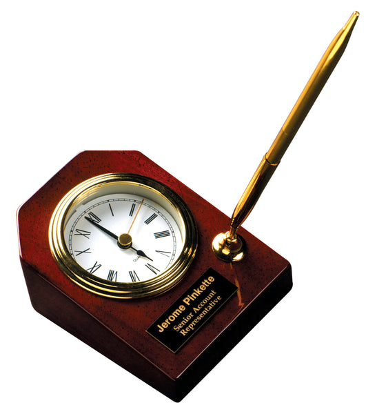 Rosewood Piano Finish Desk Clock with Pen