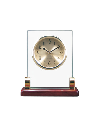 Rectangle Glass Clock with Posts & Rosewood Piano Finish