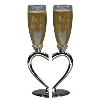 Heart Shaped Toasting Goblets 10""