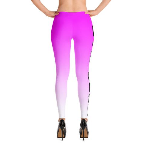 Ladies Pink and White Gym Beast Leggings
