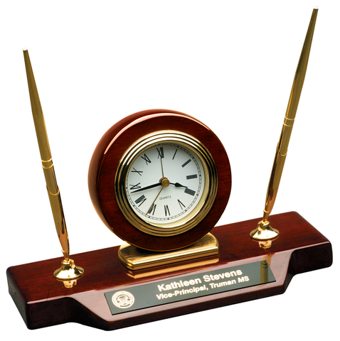 Roswewood Piano Finish Desk Clock with 2 Pens