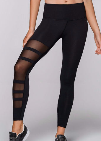 Motion Core F/L Tights - sorte med mesh detaljer