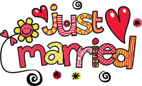 "MDesign Cute ""Just Married"" Vinyl Window Graphic / Bumper Sticker Decal"