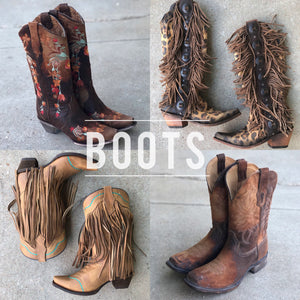 Corral Boots, Liberty Black Boots. Cute Trendy Boutique Clothing, Kan Can, Judy Blue, boho western style.