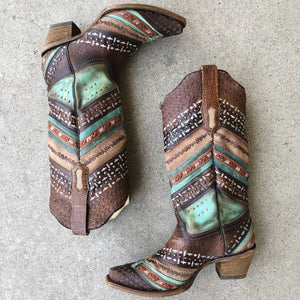 Corral Turquoise and Brown Embroidered Boots