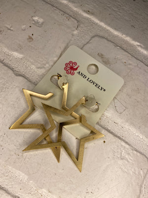 Thick Plated Star Hoops