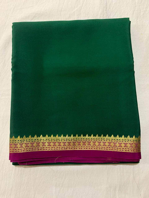 100gm Thickness Pure South Silk Saree in Green - Saree - FashionVibes