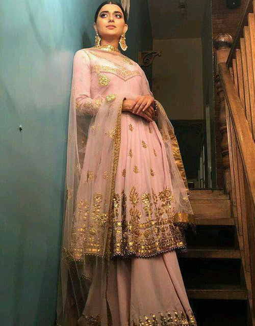 Anarkali Style Georgette Sharara Suit in - Salwar Suit - FashionVibes
