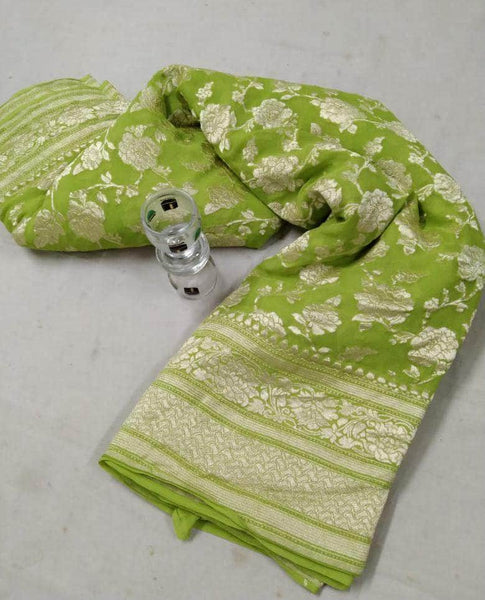 Banarasi Georgette Saree in Lime - Saree - FashionVibes