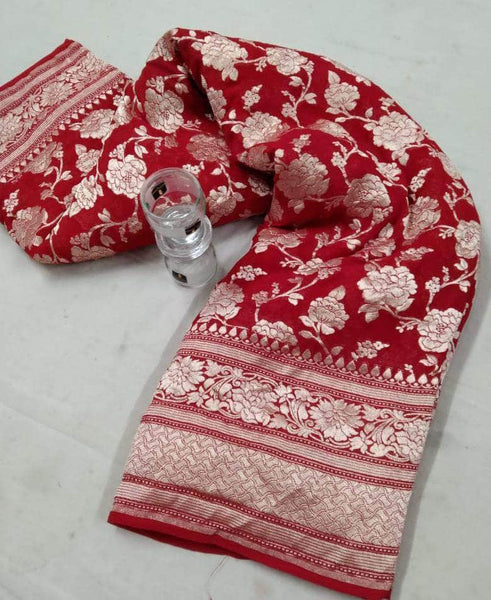 Banarasi Georgette Saree in Red - Saree - FashionVibes