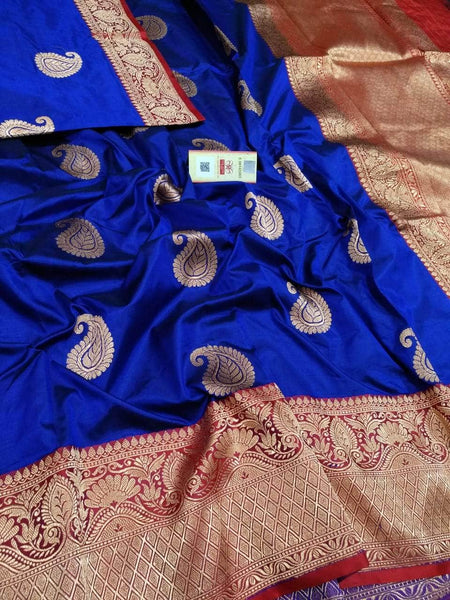 Banarasi Handloom Pure Katan Silk Saree in Blue - Saree - FashionVibes