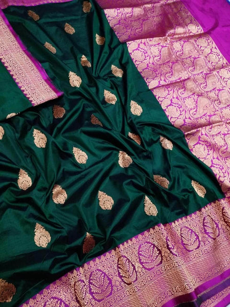 Banarasi Handloom Pure Katan Silk Saree in DarkGreen - Saree - FashionVibes