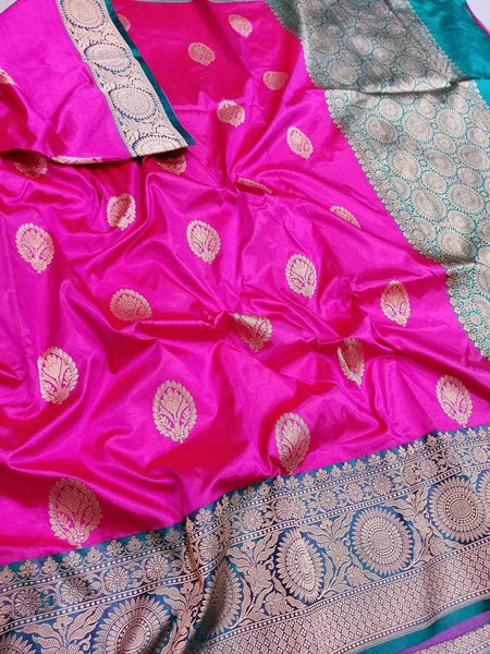 Banarasi Handloom Pure Katan Silk Saree in Fuchsia - Saree - FashionVibes